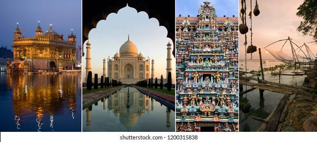 India - Page Header.  The Golden Temple of Amritsar, The Taj Mahal, Minakshi Sundareshvera Hindu Temple complex in Madurai, Chinese Fishing Nets in Cochin.