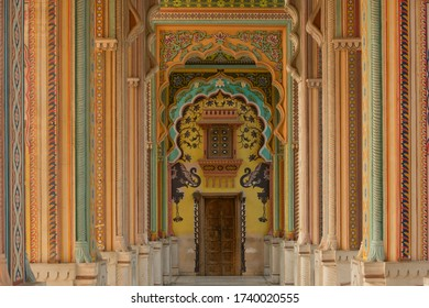 India Rajastan interior palace as for backdrop and background.