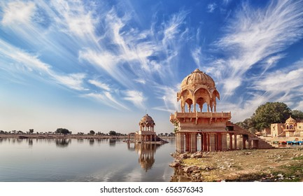 India, Rajasthan. View of the Gadisar Lake in the dry season. In reservoir a little water