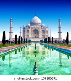 India, Taj Mahal. Indian palace Tajmahal world landmark.