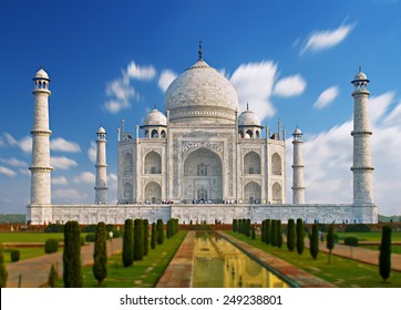 India, TajMahal. Indian palace Tajmahal world landmark. The image of the TajMahal with a beautiful sky and clouds. The TajMahal was built castle beloved wife Padishah. Mosque for all lovers. Taj Mahal