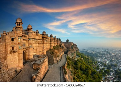 India tourist attraction - Mughal architecture - Gwalior fort. Gwalior, Madhya Pradesh, India