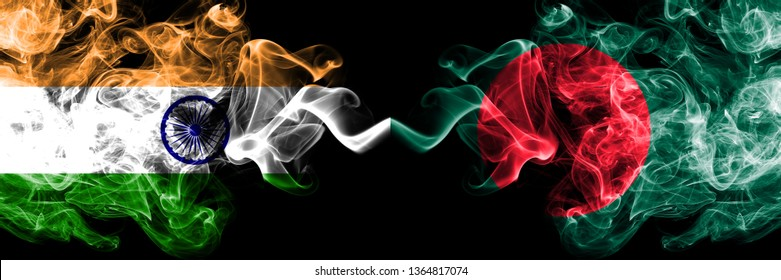 India vs Bangladesh, Bangladeshi smoke flags placed side by side. Thick colored silky smoke flags of Indian and Bangladesh, Bangladeshi