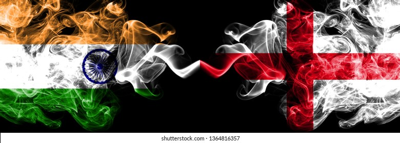 India vs England, English smoke flags placed side by side. Thick colored silky smoke flags of Indian and England, English