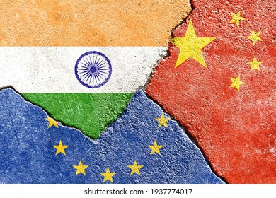 India VS EU VS China national flags icon on broken weathered cracked wall background, abstract international country political economic relationship conflicts concept pattern texture wallpaper