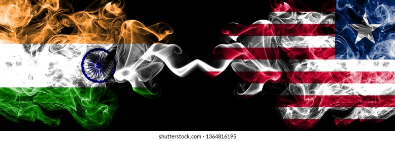 India vs Liberia, Liberian smoke flags placed side by side. Thick colored silky smoke flags of Indian and Liberia, Liberian