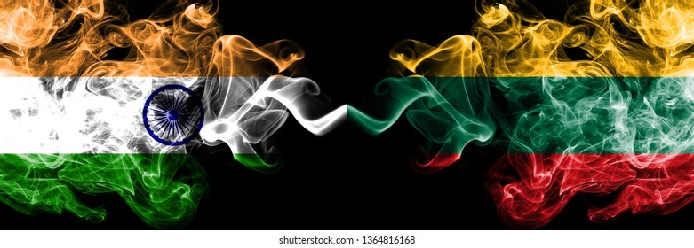 India vs Lithuania, Lithuanian smoke flags placed side by side. Thick colored silky smoke flags of Indian and Lithuania, Lithuanian