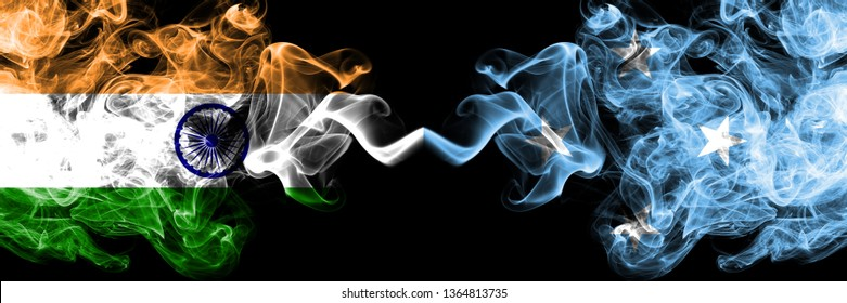 India vs Micronesia, Micronesian smoke flags placed side by side. Thick colored silky smoke flags of Indian and Micronesia, Micronesian