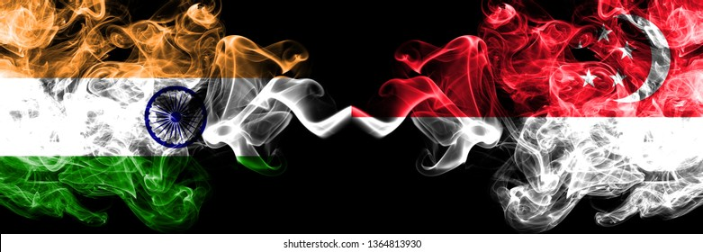 India vs Singapore, Singaporean smoke flags placed side by side. Thick colored silky smoke flags of Indian and Singapore, Singaporean