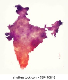 India watercolor map in front of a white background