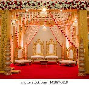 India Wedding Mandap Elegant Stage Decor