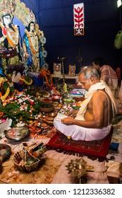 India, West Bengal, Canning - 09.10.2016 - Worshipping godess Durga