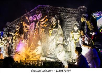 India, West Bengal, Kolkata - 10.14.2016 - Godess durga along with other gods and godesses