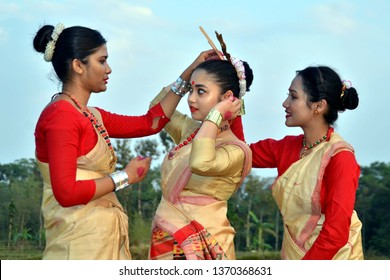 India,Assam, 13 April 2019: Young girls in Assamese traditional attire for the celebration of Assamese New Year and Rongali Bihu in Nagaon, Assam.
