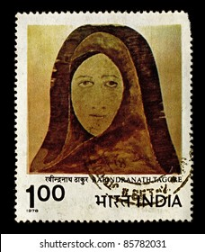 "INDIA-CIRCA 1978:A stamp printed in India shows image of Rabindranath Tagore ""Woman's face"", circa 1978."