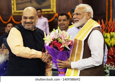 INDIA-MAY 25 2019:Prime Minister Narendra Modi got welcomed by BJP President Amit Shah at Parliament in New Delhi on Saturday
