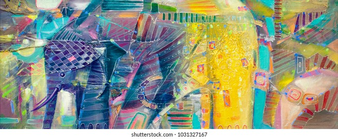 Indian abstract painting of elephant