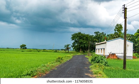 Indian Agricultural field with village road.