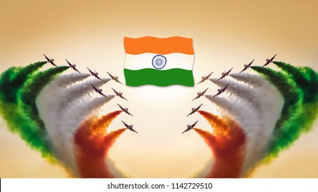 Indian air show with flag