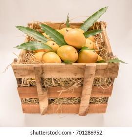 Indian Alphonso mango fruits box closeup