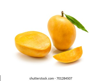 Indian Alphonso mango fruits with slices isolated on a white background