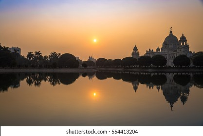 Indian architectural building - Victoria Memorial Kolkata at sunrise.
