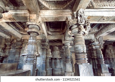 Indian architecture, 12th century stone temple Hoysaleswara with ancient columns, India.