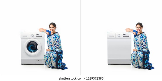 Indian Asian happy housewife presenting Dish Washer or Washing Machine