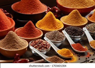 Indian and Asian Herbs and Spices making delicious Gourmet Meals. Spicy and hot. Made with Canon EOS 1DS mkIII - Shutterstock ID 1703601304