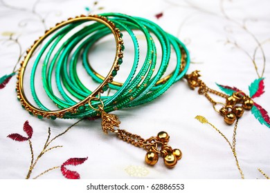 Indian bangles on silk fabric