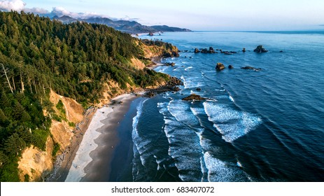 INDIAN BEACH, USA - JULY 15, 2017: Aerial view of Indian Beach along the Oregon Coast in Ecola State Park, Oregon, USA