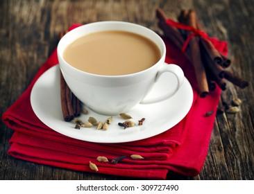 Indian black tea. Masala tea. Spiced tea with milk