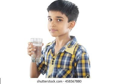 Indian boy drinking water