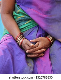 Indian bracelets on Indian woman hands, Bhadrachalam city India, 21 March 2018