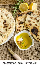 Indian bread with rosemary, garlic and olive oil