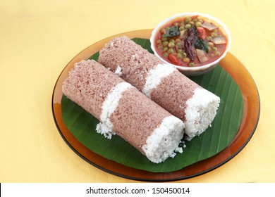 Indian breakfast Puttu with green peas curry.