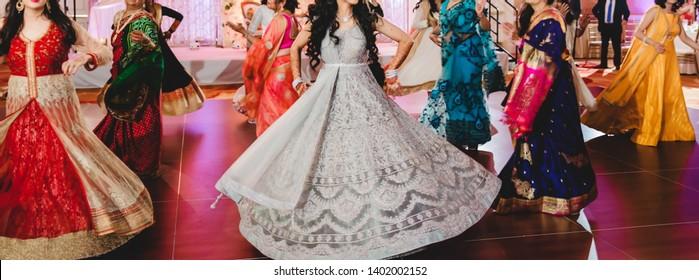 Indian bridal and bridesmaids dance sangeet ceremony Karachi, Pakistan, May 01, 2019