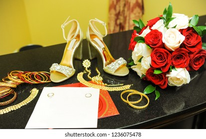 Indian Bridal jewllery set and Sandal shoes with wedding ring