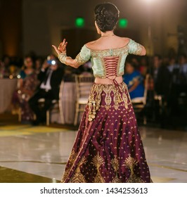 Indian bridal reception dance her wedding day Lahore, Pakistan, July 01, 2019