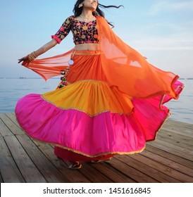 Indian bridal showing sangeet dress Karachi, Pakistan, July, 05, 2019