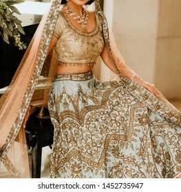 Indian bridal showing wedding Lehenga sharara dress