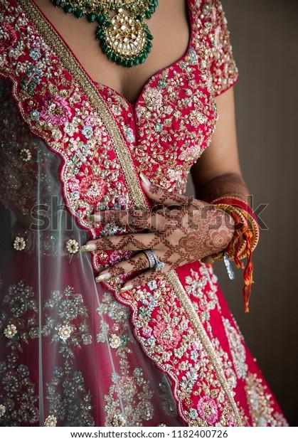 Indian Bridal Showing Wedding Lehenga Dress Stock Photo Edit Now 1182400726