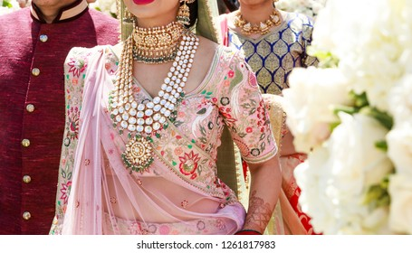 Indian bridal showing wedding necklace jewelry