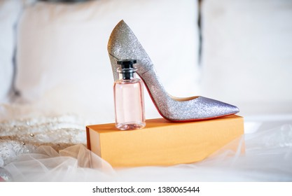 Indian bridal wedding shoes and perfume