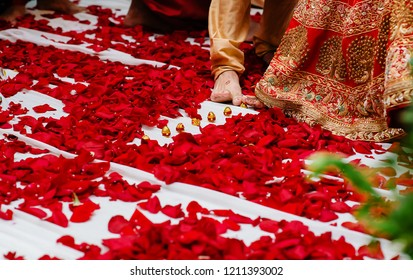 Indian bride and groom touches with toe seven nuts or betel