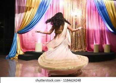 Indian bride on a sangeet performance dance