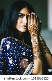 Indian bride Showing mehndi design and wedding rings Lahore, Pakistan, 08, August, 2019