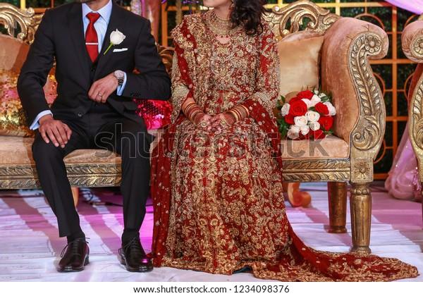 Indian Bride Wearing Red Lehnga Shaara Stock Photo (Edit Now