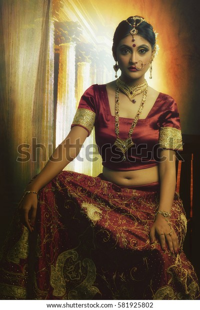 The Indian Bride in wedding costume