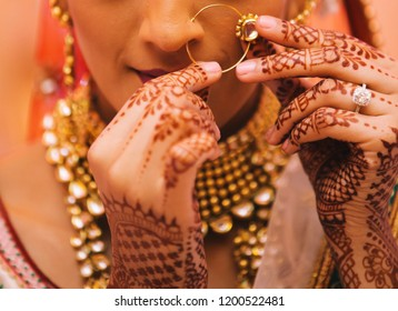 Indian bride's wearing nose earring jewellery Karachi, Pakistan, October 01, 2018